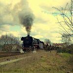"""""""44 1486-8"""" bei der Ausfahrt aus Immelborn - Plandampfveranstaltung 13.04.2013im Werratal"""