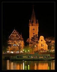 600 Jahre alter Kirchturm am Abend