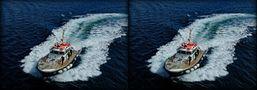 Lotsenboot kommt mit Gebraus (3D-X-View) von 3D-Wolfgang
