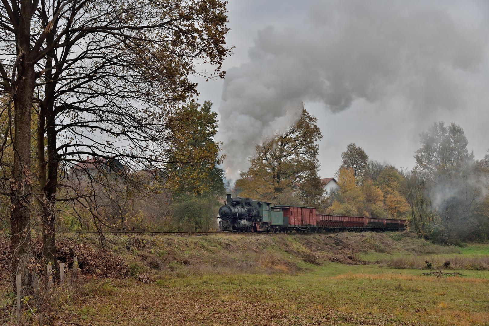 83-159 am 01.11.19 auf einer Wiese mit Güterzug bei Banovice