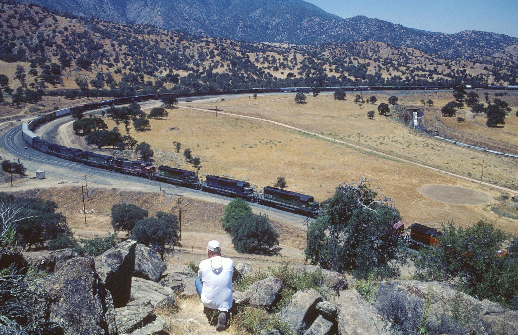9 (!) Lokomotiven führen einen Güterzug über den Tehachapi Loop in Richtung Mojave,CA