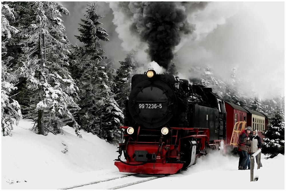 99 7236-5 am Neujahrstag auf dem Weg zum Brocken