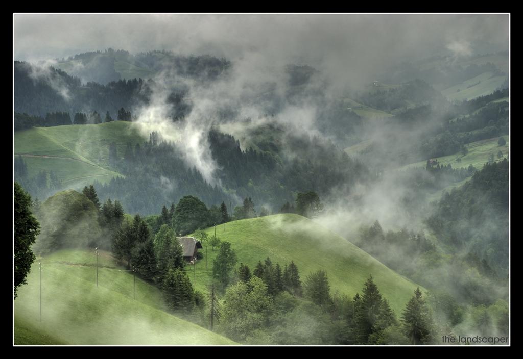 a big fog and the farmhouse
