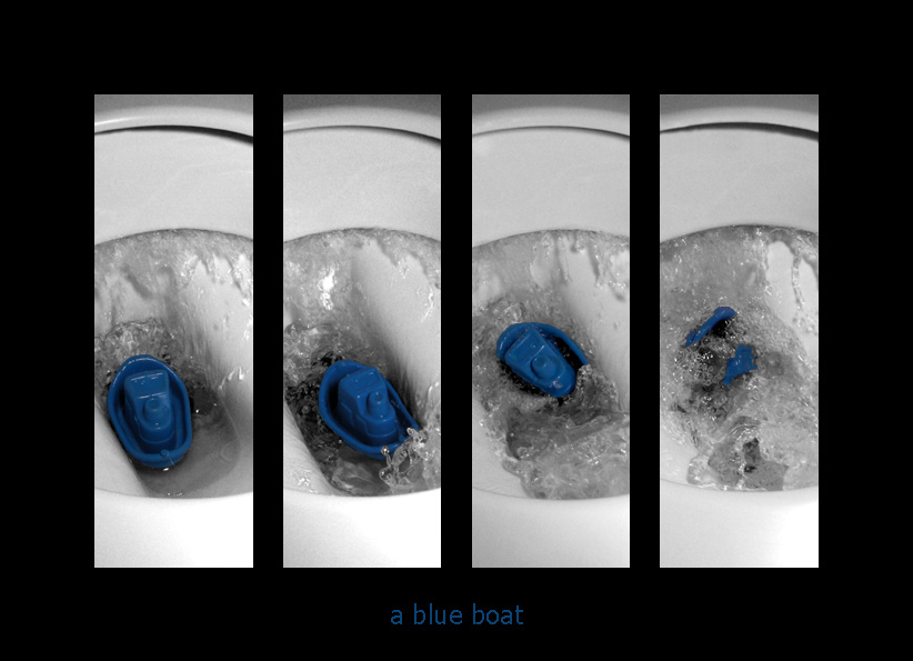 a blue boat