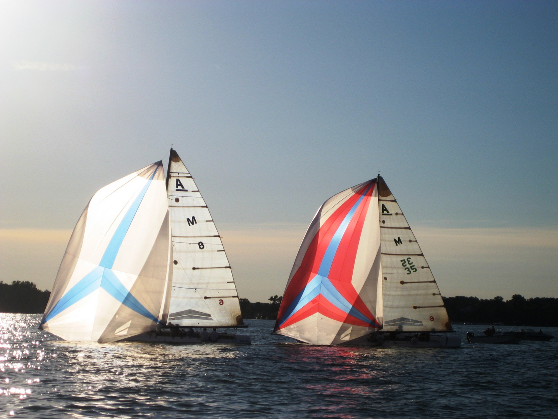 """A"" boat racing on lake Minnetonka, Minnesota"