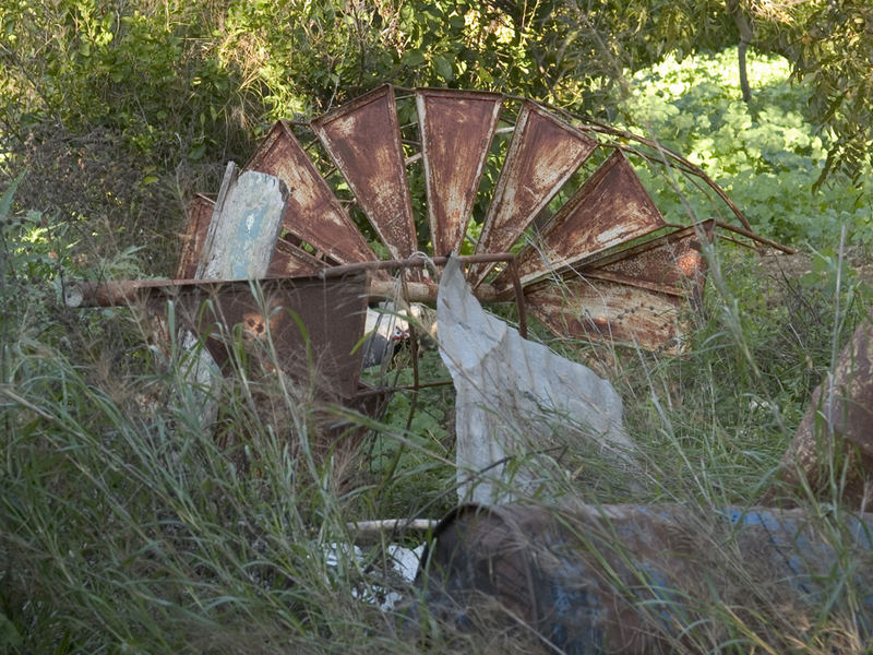 A broken and disused windmill on a Cypriot farm