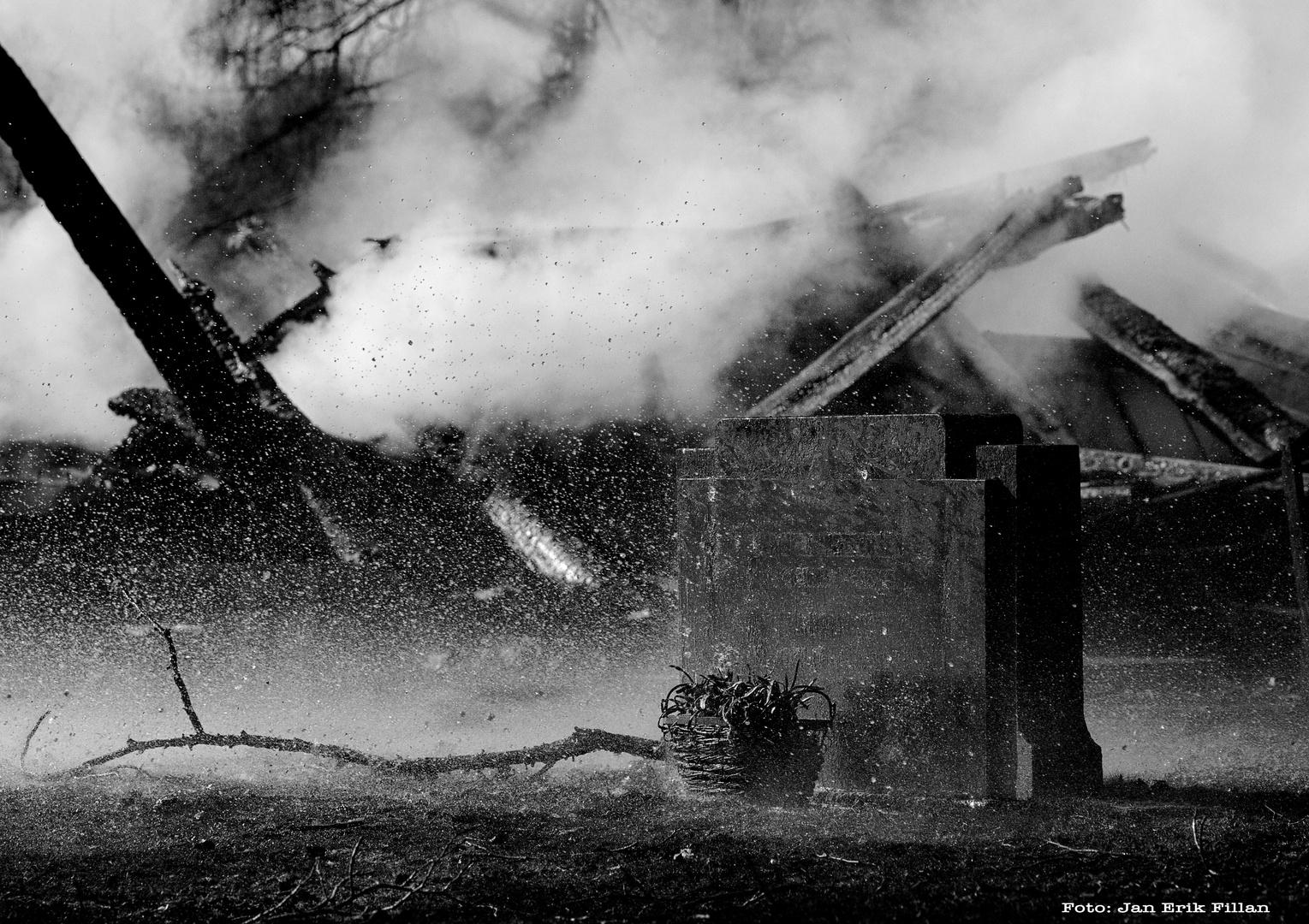 A church set on fire