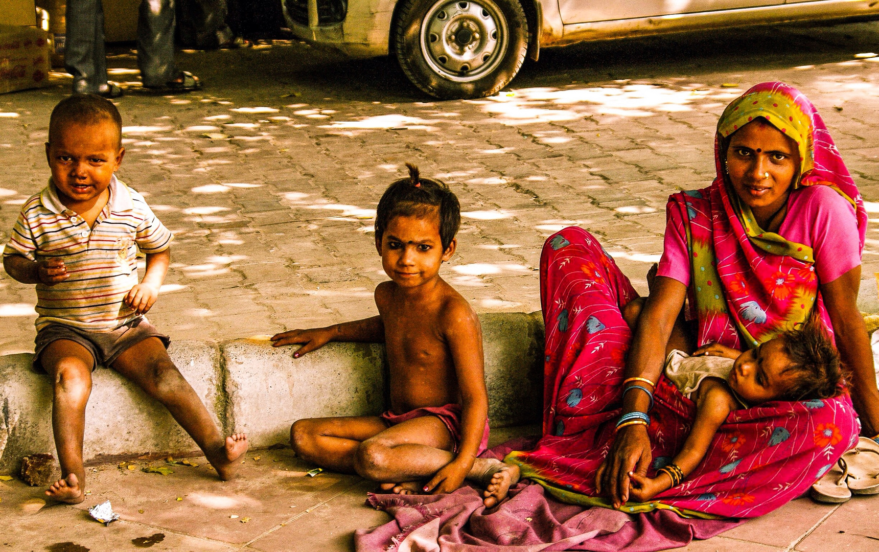 A family at the street