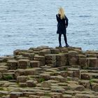 a girl at Giant's Causeway. Northern Ireland