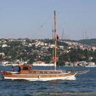 A gulet while running on Bosphorus