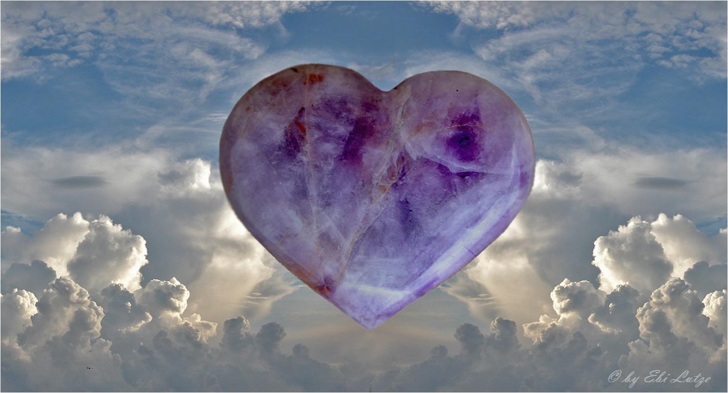 ** A Heart made of a Chevron Amethyst **