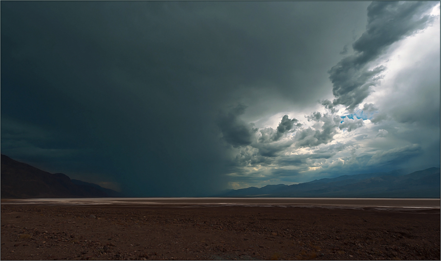 a heavy thunderstorm blustered over the hottest, driest and lowest spot in northamerica