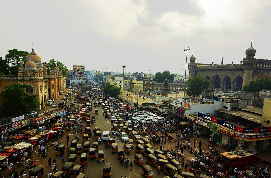 a little bit traffic in Hyderabad