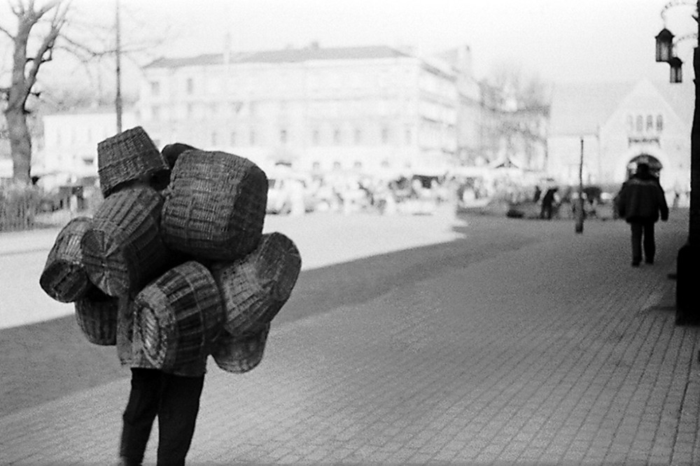 A man in Vubor with baskets