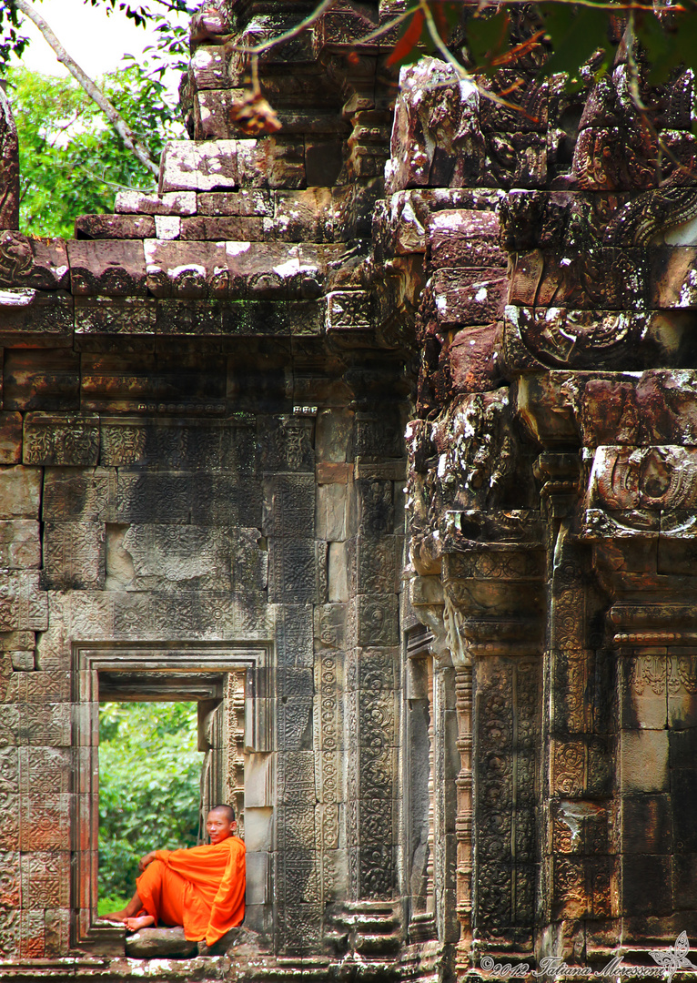 """""""A Monk and a Window"""" Angkor, Siem Reap, Cambodia."""
