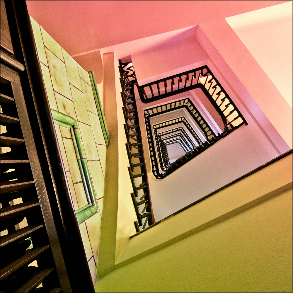 * A staircase in the Chilehaus *
