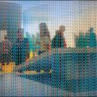 A travers le rideau de mailles turquoise de MAILLON CREATION /  www.rideau-chainette-store.com