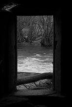 a través de la puerta
