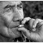 A worker's face - smoking ...