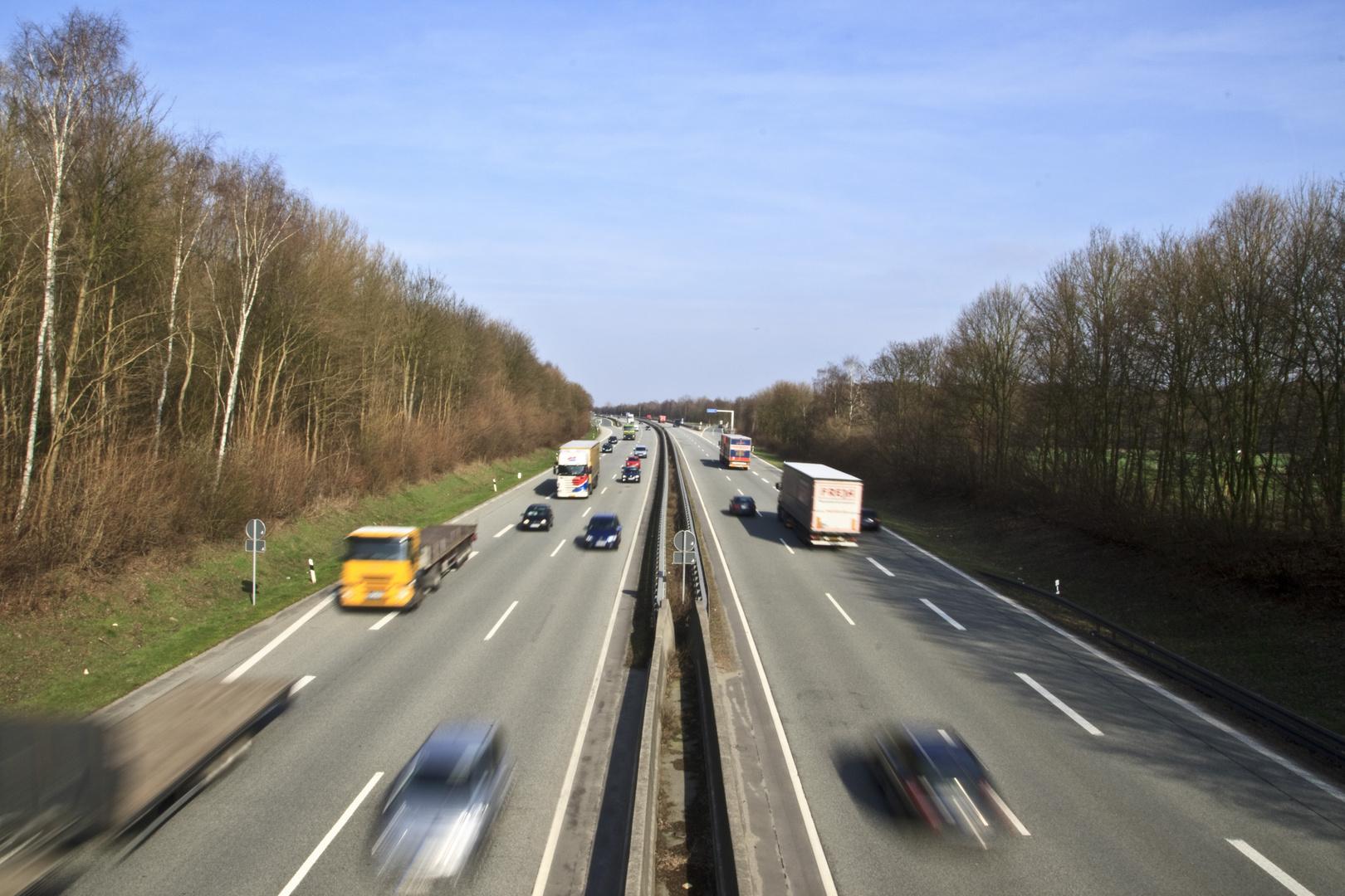 A43 Richtung Münster, Ausfahrt Dülmen Nord (5) am Nachmittag