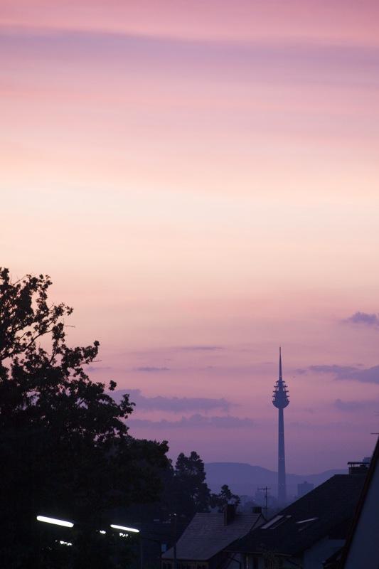Abendlicher Blick aus einem Oberasbacher Dachfenster