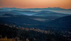 Abendlicher Blick von Finsterau in Richtung Alpenkette