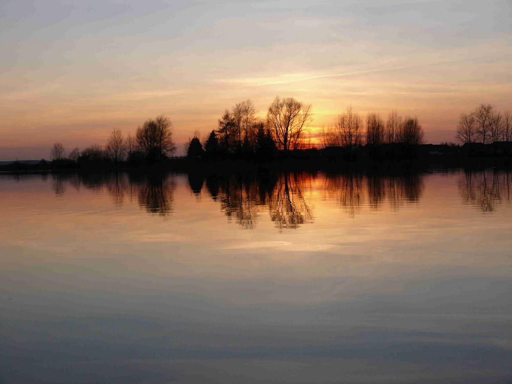 Abendrot am Baggersee