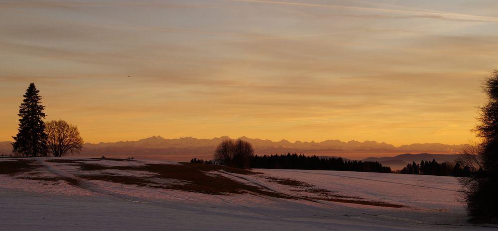 Abendrot und Alpensicht