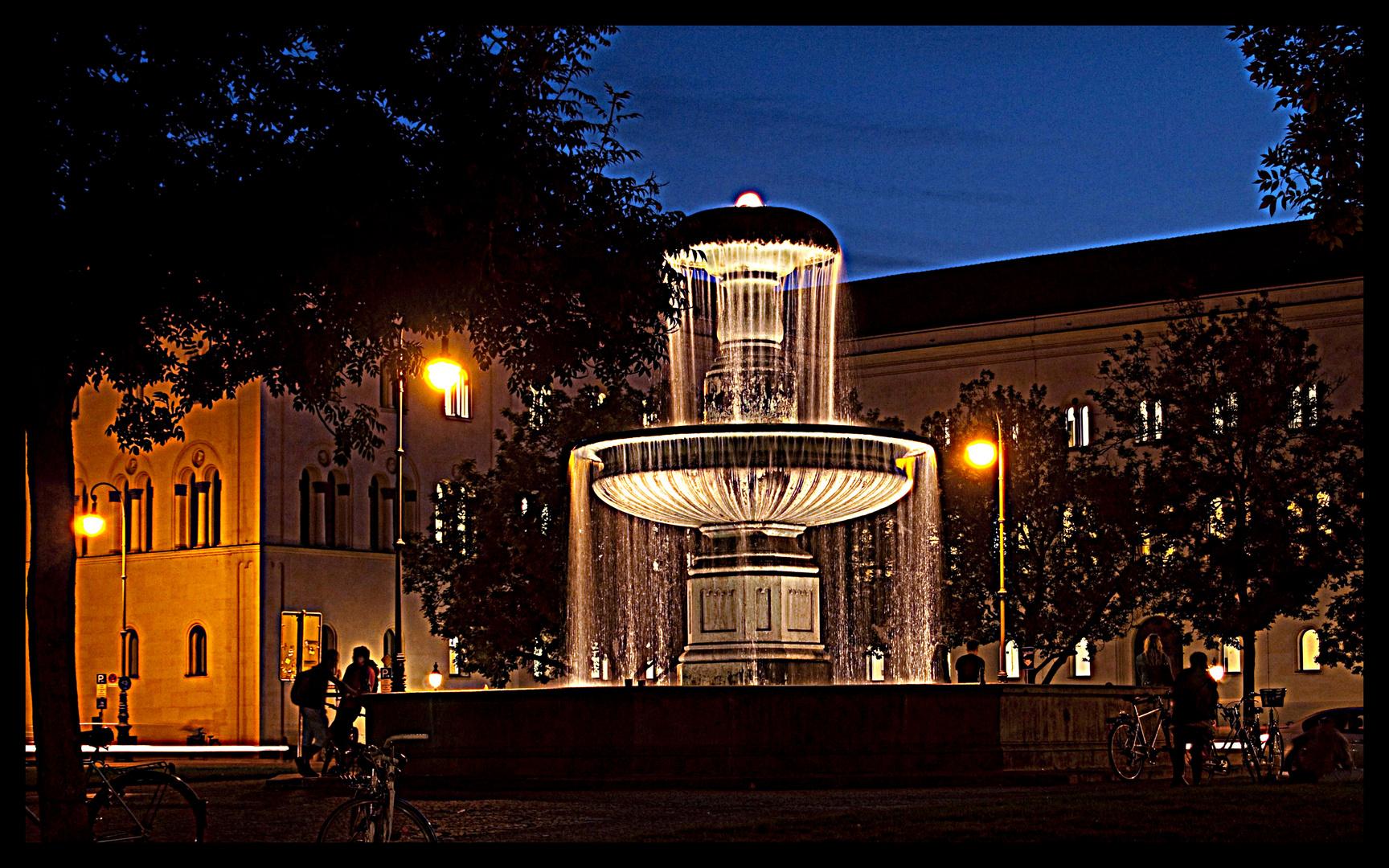 Abends am Brunnen