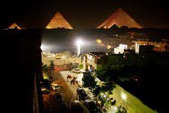 abends in Gizeh, Ägypten
