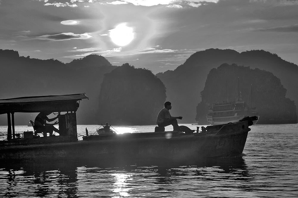 Abendsonne Halong Bay- Vietnam