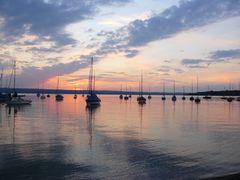 Abendstimmung am Ammersee mit Segelbooten