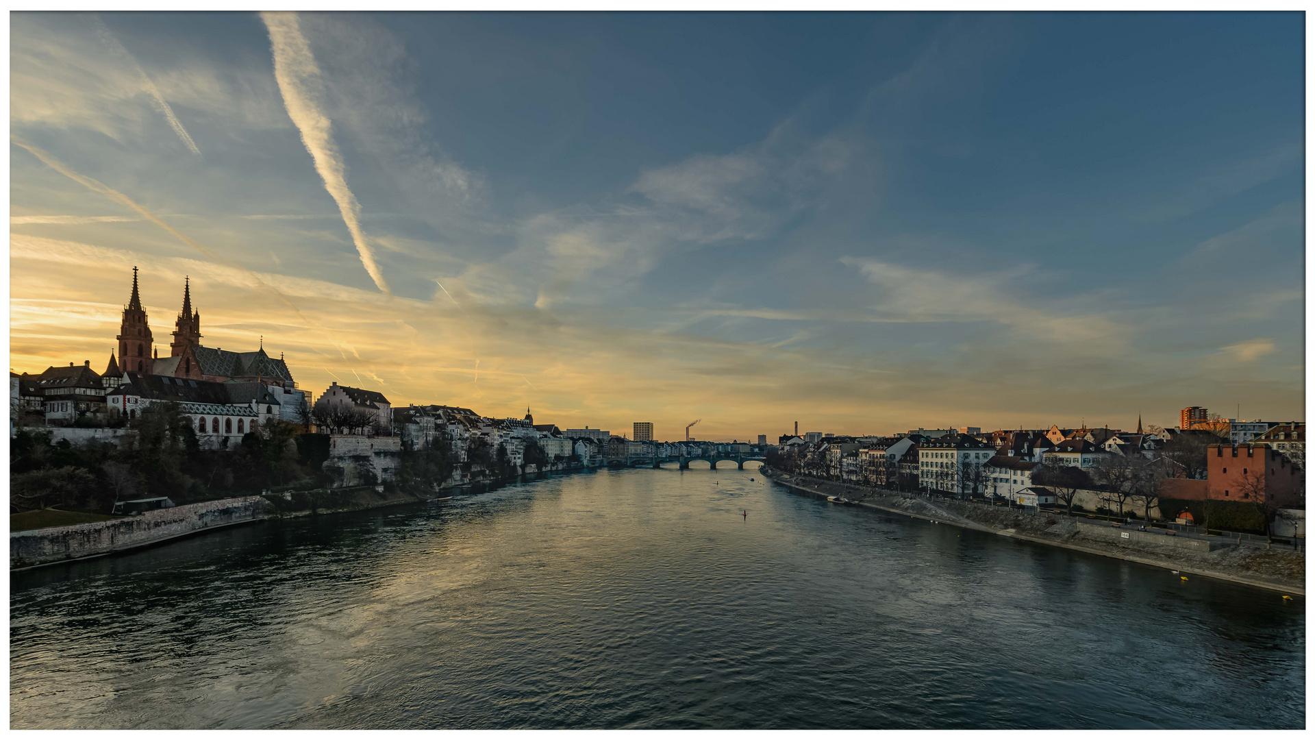 Abendstimmung am Rhein Februar 2019