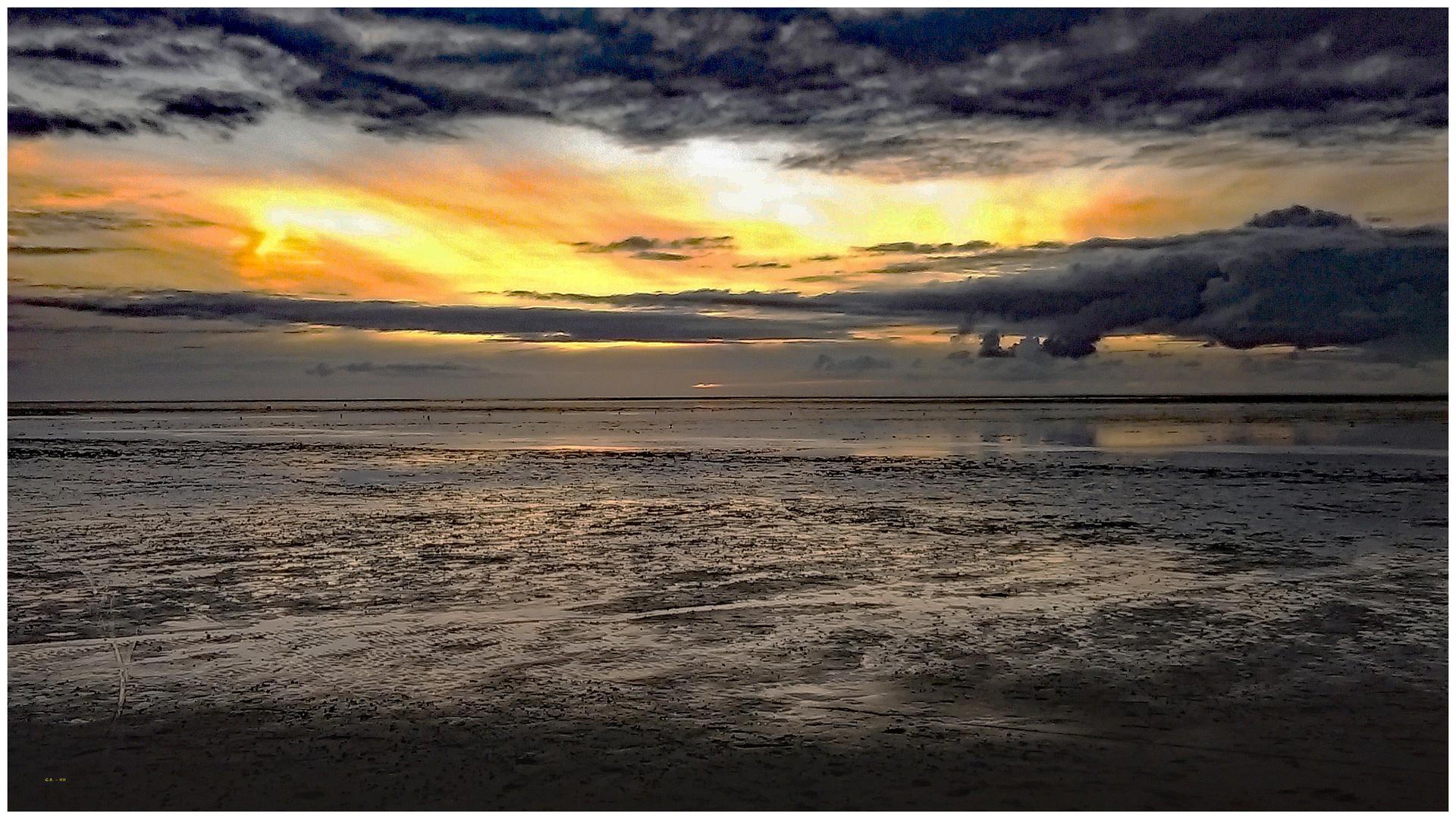 Abendstimmung am Wattenmeer der Nordsee.....
