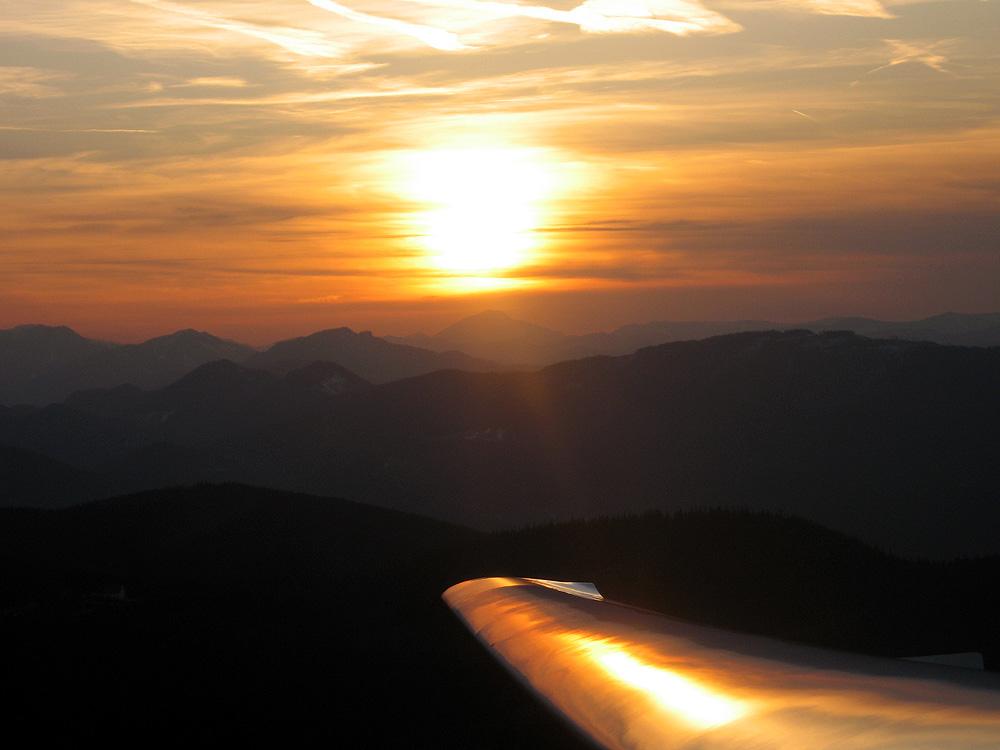 Abendstimmung im Segelflugzeug