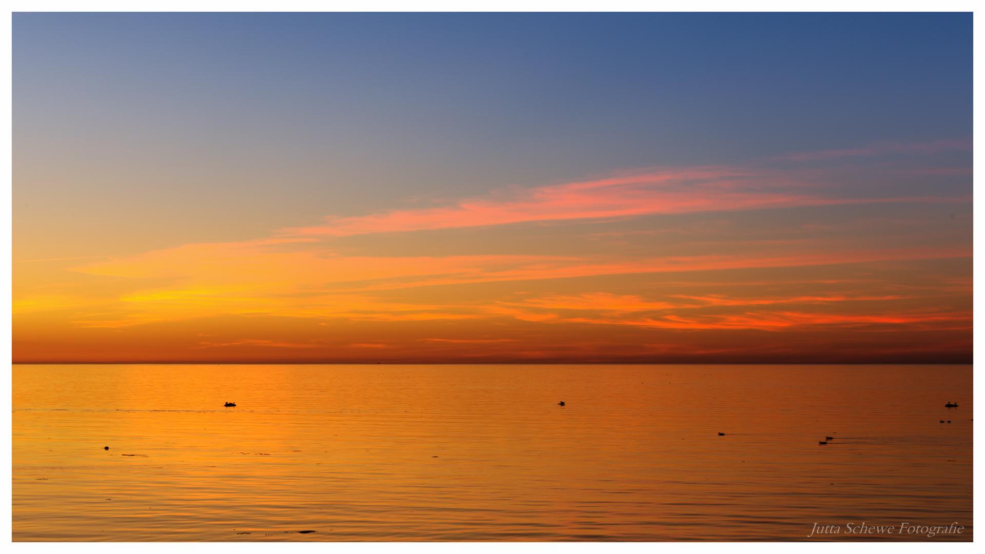 Abendstimmung mit Blick auf den Fehmarnsund am 12. März