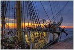 """""""Abendstimmung vor dem auslaufen n. Dunkirk"""" die Krusenstern in Bremerhaven am 27.5.2013"""