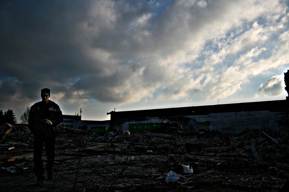Abriss, alte Gardinenfabrik I, kurz nach dem Ende