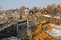 Abriss der Bahnbrücke Greizer Straße