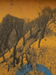Abstrakt in Orange Schwarz Blau