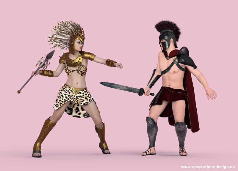Achilleus kämpft mit der Amazonenkönigin Penthesilea