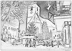 Adventstimmung St.Wolfgang- in Bleistift