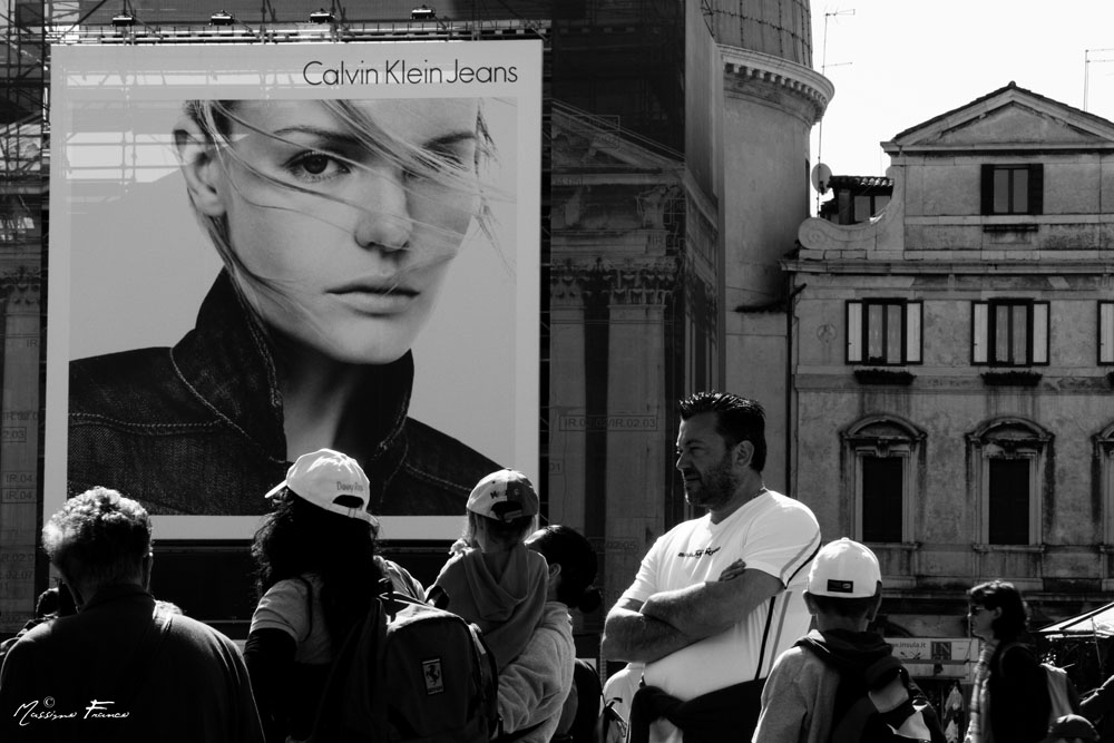 Advertising and People in Venice Station