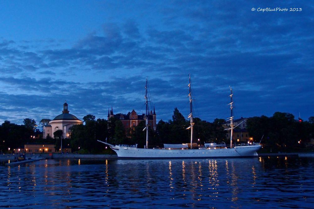 AF Chapman by Night and Skeppsholmen