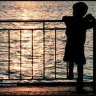 Affascinato dal riflesso del tramonto sul lago