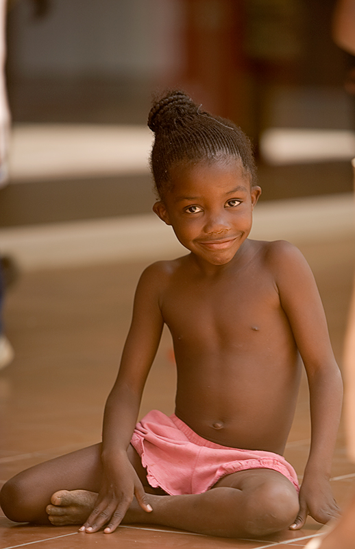 African girl at the market