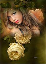 Agustina con flores de Marce de las Muelas