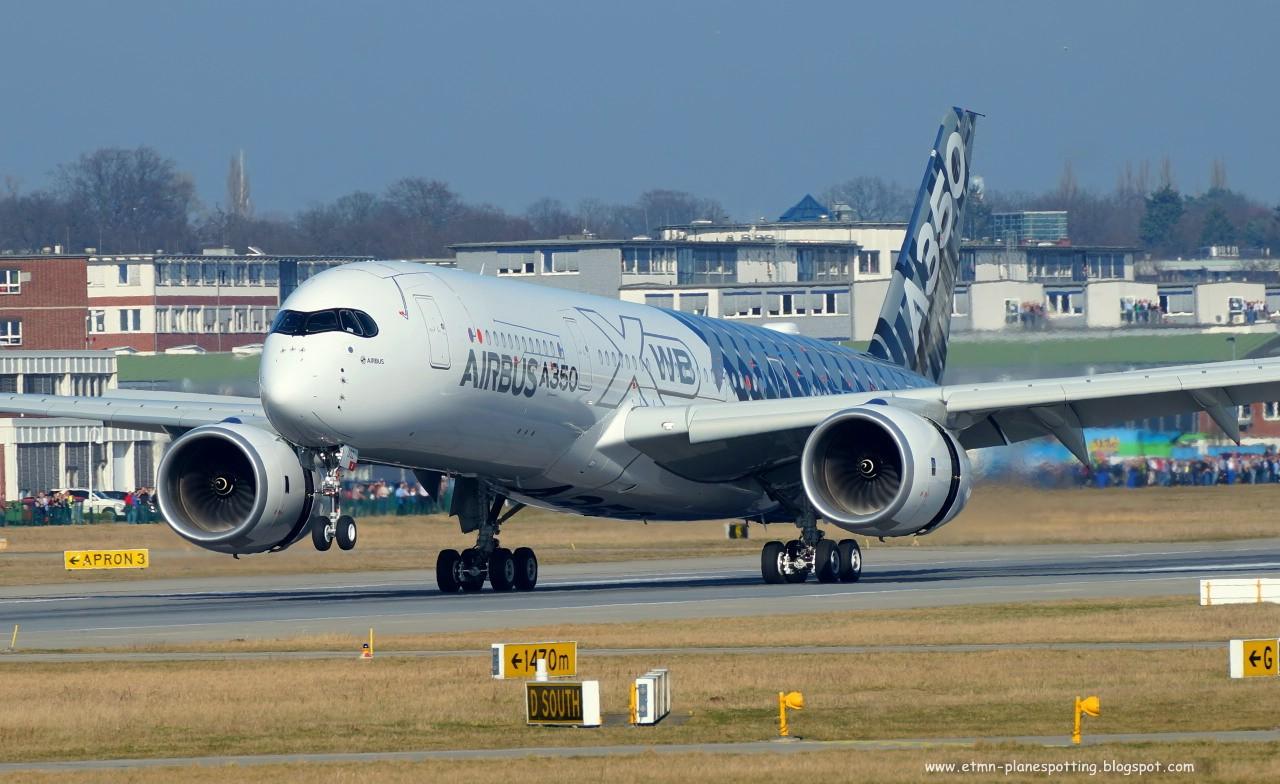 Airbus A350 bei der ersten Landung in Deutschland