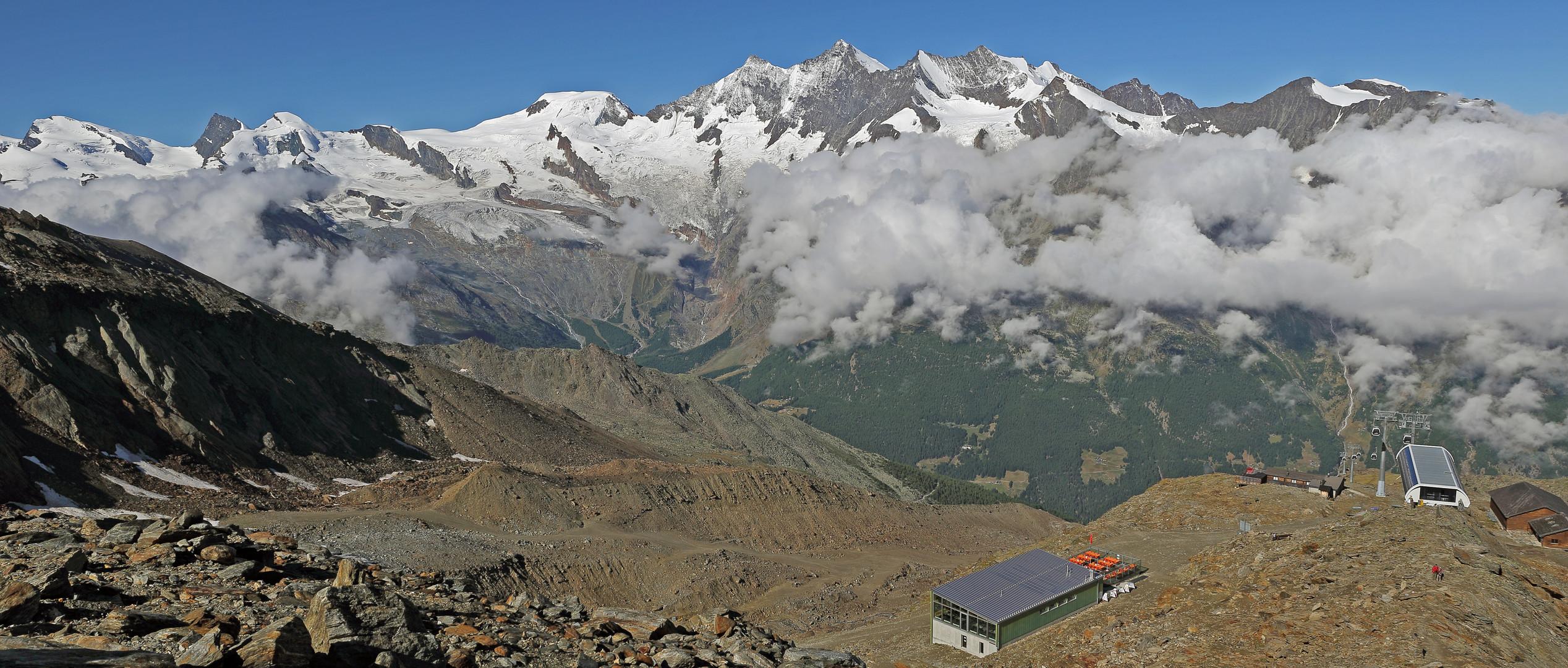 Alle möglichen Viertausender bis auf den Monte Rosa hier auf einer WW-Aufnahme...