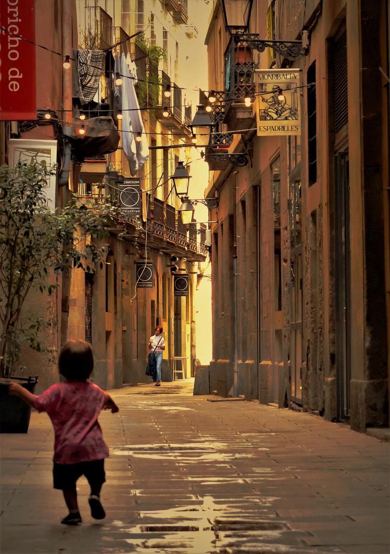 Allein im Barri Gotic Viertel - Barcelona